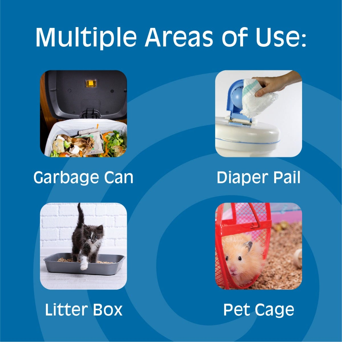 Use on diaper pails or in pet areas