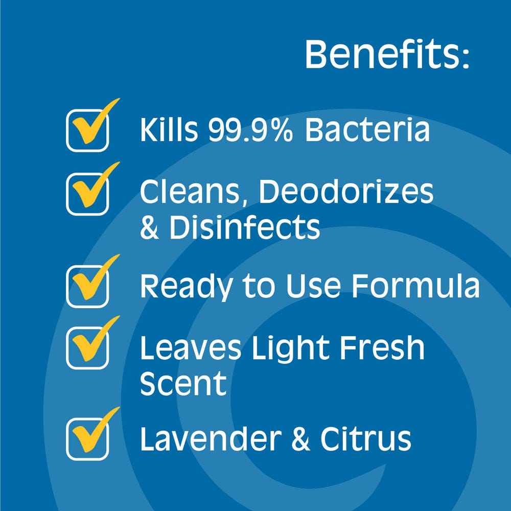 Kills 99.9% of bacteria in ready-to-use formula