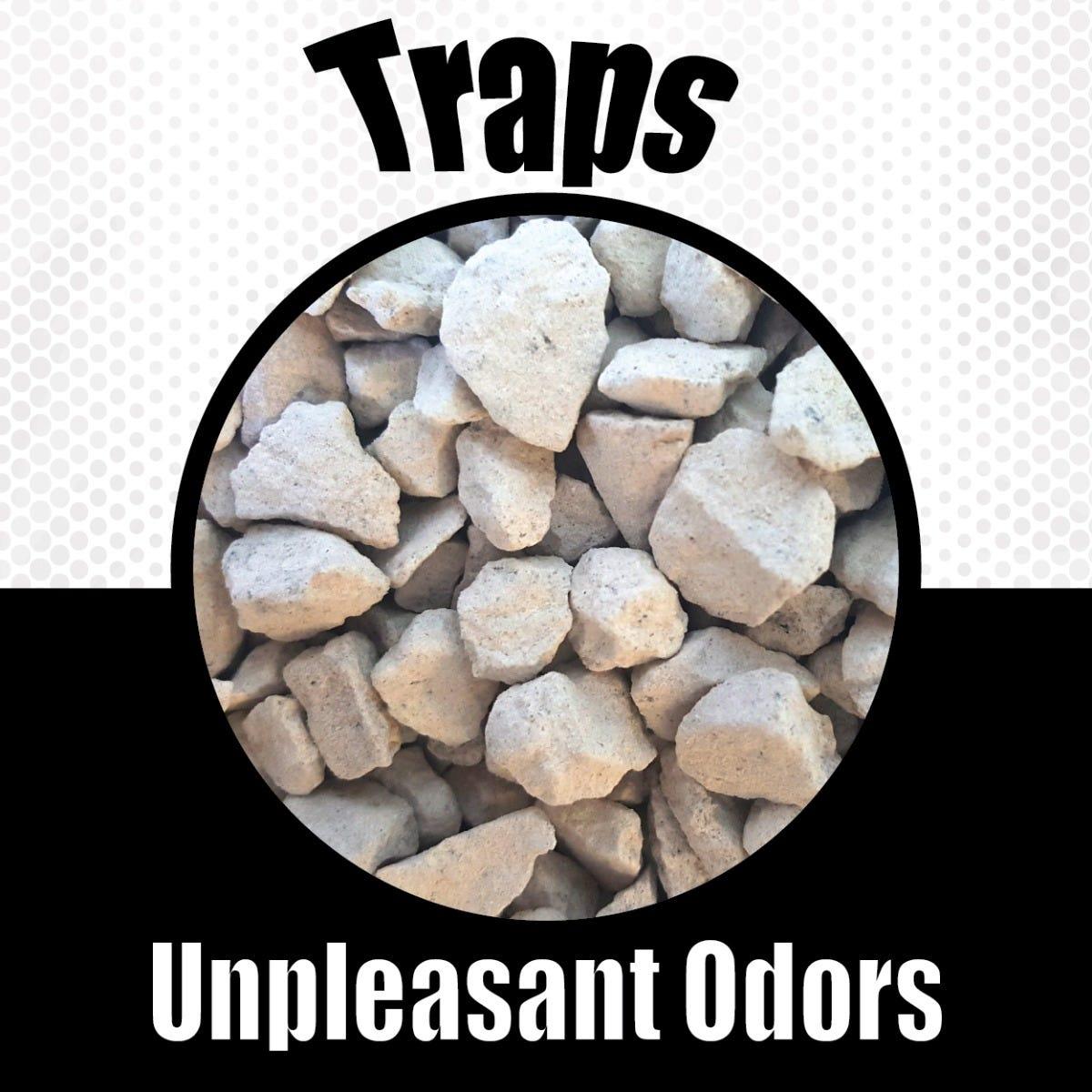 Pet odor eliminating rocks traps odors